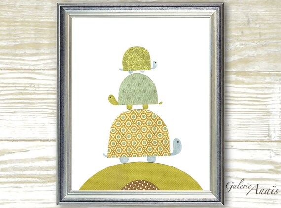 Turtle nursery green and blue - Children art room - baby nursery decor - art for kids - kids turtle - Going Places print
