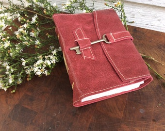 Pink Leather Journal / notebook with old world torn edge pages by Binding Bee