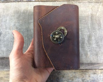 Pocket sized travel journal / lined leather journal
