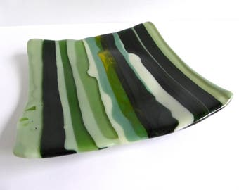 Square Fused Glass Plate in Stripes of Green by BPRDesigns
