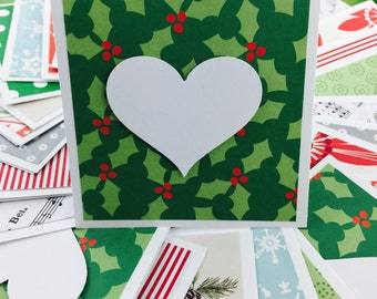 Mini Heart Cards Bulk Christmas Collection