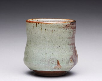 handmade pottery cup, ceramic teacup, tumbler, yunomi with light blue and earthy wood ash glazes