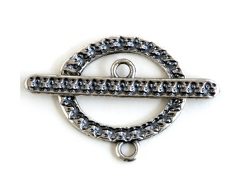 Textured Oval Silver Plated Toggle Clasp 43511 (1) Silver Jewelry Clasp, Oval Toggle Clasp, Necklace Toggle Clasp, Bracelet Toggle Clasp