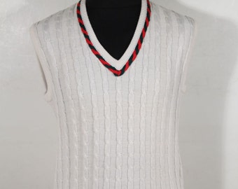 Authentic GUCCI VINTAGE White Wool Blend TENNIS sleeveless jumper vest sz 46