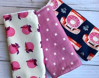 Set of 3 Modern Cotton Burp cloths Cotton and Steel Fabrics