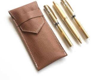 Leather Pencil Bag - Brown