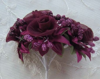 18 pc Rosette Rose Wired Flowers BURGUNDY Organza Satin Ribbon w Pips Bridal Bouquet Hair Bow Accessory