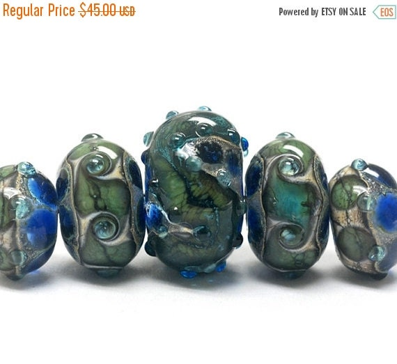 ON SALE 45% OFF Handmade Glass  Lampwork Beads - Five Graduated Deep Ocean Blue w/Silver Foil Rondelle Beads - 10406511
