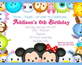 tsum tsum inspired invitation custom digital invitation print yourself