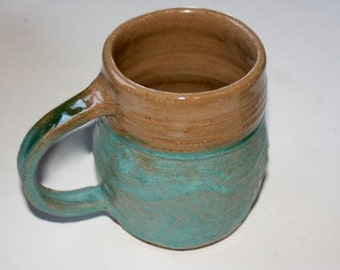 Ceramic  Mug Stein  in Stoneware with Turquoise and Clear Glaze over Reddish Brown Clay  Holds  One Pint  One of a Kind