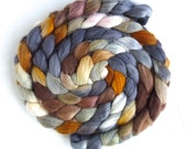 Organic Polwarth/Cultivated Silk Roving - Handpainted Spinning or Felting Fiber, Agate