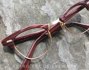 SRO USA 60's Redwood Browline Hornrim Hipster Eyewear Prescription Glasses Eyeglasses Frames Mid Century Modern Mad Men Fashion