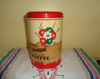 Chicago Mid Century 1950's Advertising Centrella Floral Coffee Tin