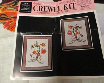 Crewel Embroidery Kit Bird in Bush Pair Marion Nichols 140 Jacobean Style Wall Hanging Kit
