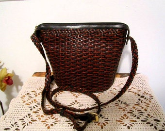 Weaved Leather Bag Crossbody Brown Shoulder Basket-weave Bag