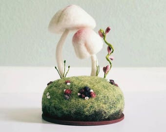 Woodland Miniature Mushrooms Pink and White Floral Sculpture Needle Felted Wool Nature Display - Collectible Miniature Scene - Made To Order