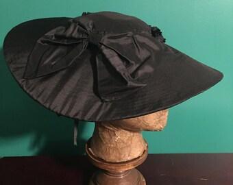 18th Century Black Silk Covered Bergère Chip Hat