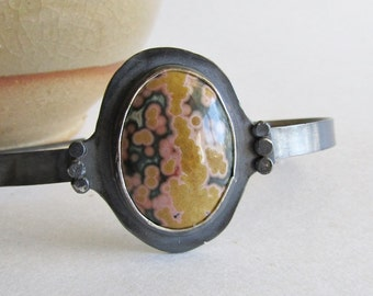 Ocean Jasper Cuff Bracelet - Ocean Jasper Jewelry - Large Cuff Bracelet - Oxidized Silver Bracelet