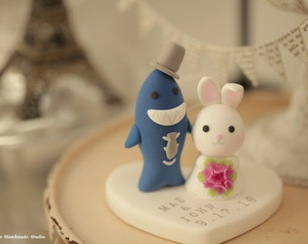 Bunny  and Shark wedding cake topper, rabbit Shark wedding cake topper----k620