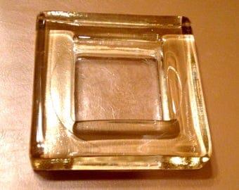Circa 70's Vintage Glass Square Ash Tray