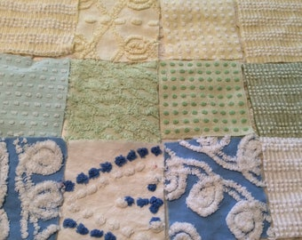 """1 PENNY SHIPPING Pastels   5"""" Squares  Vintage  Chenille fabric  Patchwork"""