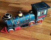 Vintage Litho Tin Train Engine in Blue, Red, and Yellow. Just Under 15 Inches. Battery Operated Non-Working.  Fun for Vintage Xmas Display