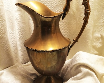 Vintage Brass Pitcher with Swan Head and Neck Handle and Ornate Details at Top, Middle, and Bottom. 12 Inches from Top of Handle to Bottom.