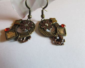 brass flower abstract dangles