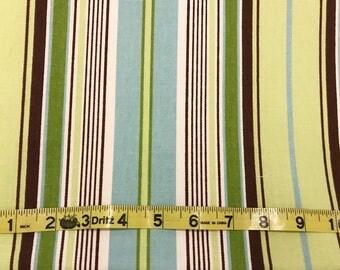 Home Decor Fabric | Green Blue Brown Stripe | Cotton Twill fabric | Premier Prints