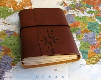 True North travel journal with maps option to personalize, larger travel journal by tremundo