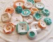 Vintage Buttons - Cottage chic mix of orange, turquoise, white lot of 20 old and sweet(feb 88 17)