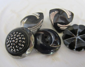 Vintage Button- 5 beautiful Art Deco  black with silver accents, very old, Collector glass buttons (jan 142-17)