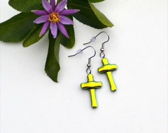 149 Fused glass dichroic yellow gold cross earrings