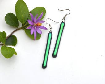 163 Long dichroic fused glass earrings, green and black