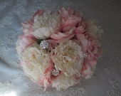 Custom order listing for...Crystal Ray.....Peony Bridal and Bridesmaids Cottage Chic Wedding Bouquet Set