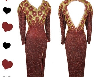 Vintage 80s Dress // Red Silk Beaded Sequin Gold Long Sleeve Maxi Glam Bombshell Party Dress M Open Back Prom Cocktail Valentines Day V Day