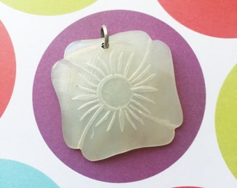 Carved Mother of Pearl Flower Pendant - FREE WITH 20.00 PURCHASE