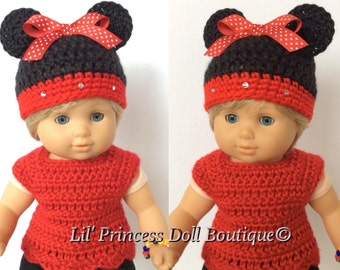 Set of 2 Minnie Mouse Hats Made For Bitty Twin Girl Dolls, Crochet Doll Clothes