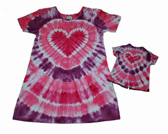 Girl and Doll Dress Set in Shades of Pink Tie Dye with a Tie Dye Heart- 18 Inch Girl and Doll Dress Set-Fits 15 and 18 Inch Dolls