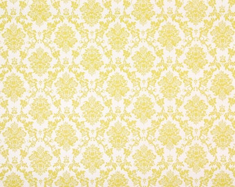 1970s Retro Vintage Contact Paper Small Yellow Damask Wallpaper Peel and Stick by the Yard
