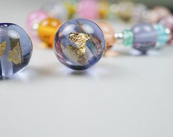 Beach Glass Necklace // Round Pendant // Beach Glass // Lampwork Jewelry