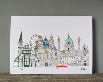 Vienna A3 Print // Illustration Wall Art // Austria Travel Poster