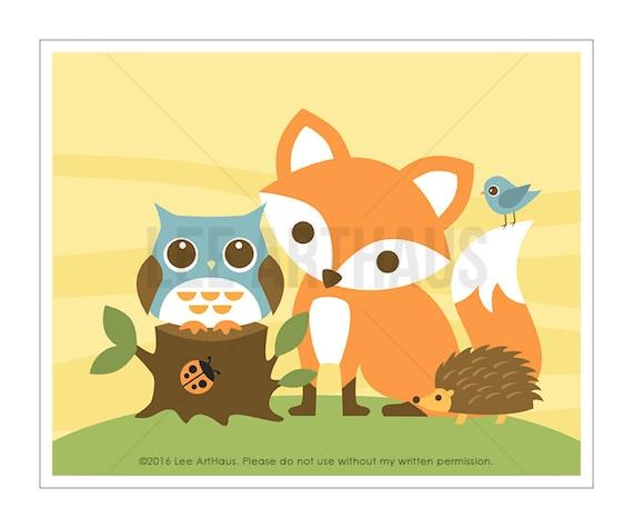 27A Fox Print - Cute Fox Wall Art - Woodland Fox Nursery Print - Children Nursery Decor - Owl Print - Owl Nursery - Woodland Nursery Decor