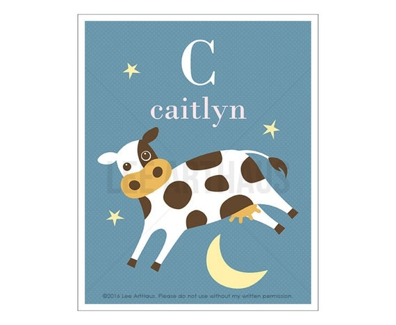 145P Cow Print - Personalized Letter C Cow Jumping Over Moon Wall Art - Cow Art - Baby Girl Nursery Room Decor - Animal Art - Girl Art Print