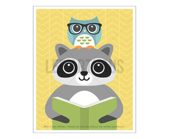 133A Book Print Art - Raccoon and Owl Reading Book Wall Art - Book Poster - Raccoon Print - Raccoon Drawing - Cute Baby Nursery Art Prints