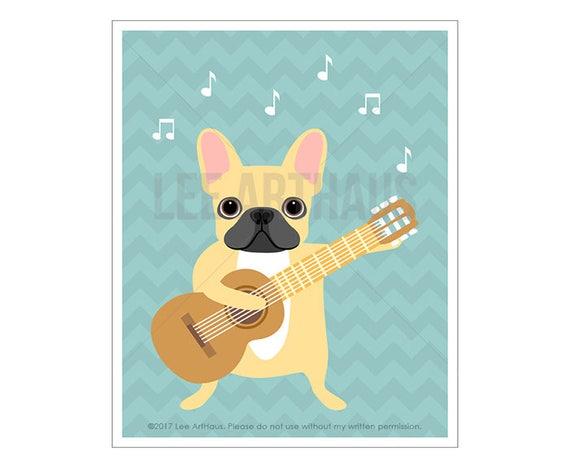 34D Dog Print - French Bulldog Playing Guitar Wall Art - Guitar Print - Dog Print - Dog Art - French Bulldog Print - French Bulldog Wall Art