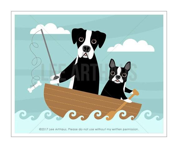 89D Dog Print - Great Dane and Boston Terrier Fishing Wall Art - Great Dane Print - Boston Terrier Print - Fishing Print - Dog Nursery Art