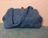 RESERVED Vintage 1940's Blue Beaded Purse Belgium