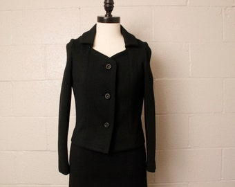 Vintage 1960's Kimberly I. Magnin Black Wool Dress Jacket Suit