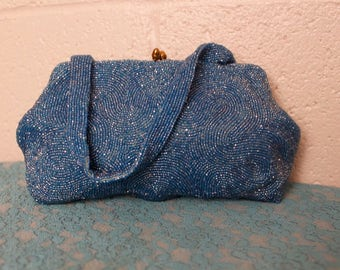 Vintage 1940's Blue Beaded Purse Belgium
